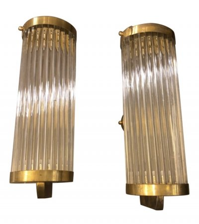Two Mid-Century Modern Brass & Glass Italian wall Sconces, circa 1970