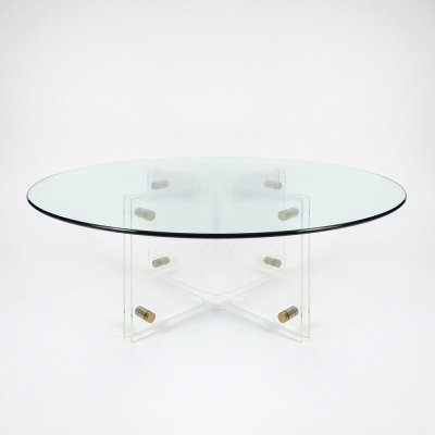 Lucite & glass top coffee table, 1970s