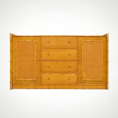 Faux bamboo sideboard with rattan & brass details, 1970s