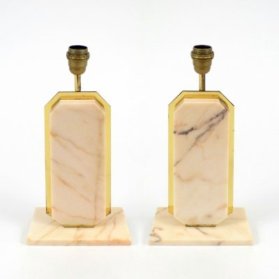 Pair of marble & brass Belgian lamps, 1970s