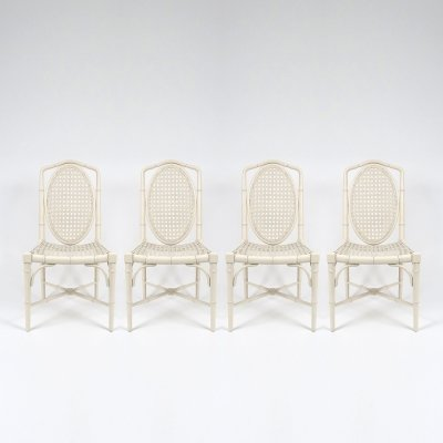 Set of 4 lacquered wood & webbing faux bamboo chairs, 1970s