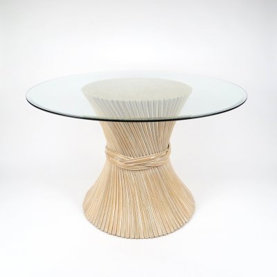 Rattan & glass top dining table, 1970s