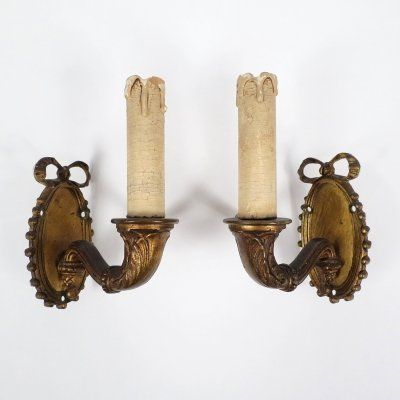 Pair of bronze wall lights, 1950s