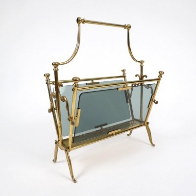 Brass & smoked glass magazine rack from Maison Bagués, 1960s
