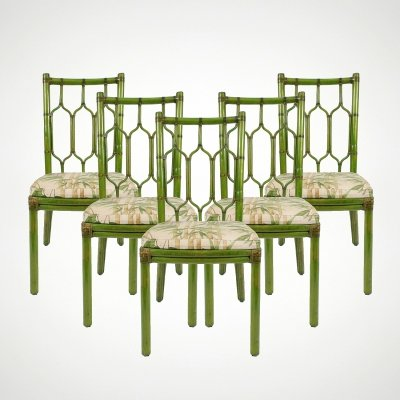 Set of 5 bamboo chairs with leather details, 1970s