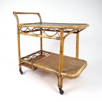 Rattan serving trolley, 1970s