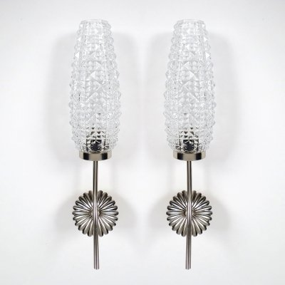 Pair of French metal & glass wall lights, 1950s