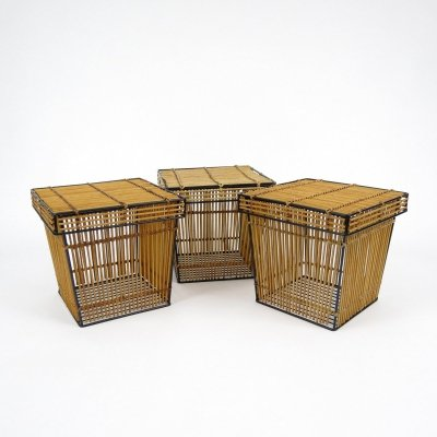 Set of 3 dutch rattan & iron boxes, 1950s