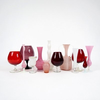 Set of 13 vintage glass vases