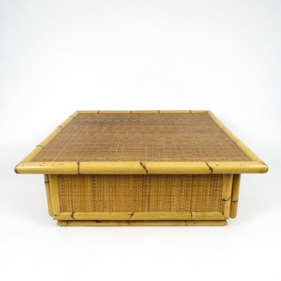 Bamboo & rattan coffee table, 1970s