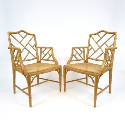 Pair of faux bamboo armchairs, 1970s