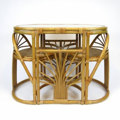 Rattan Table & chairs, 1970s