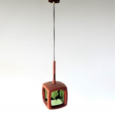 Teak with green glass pendant lamp for AB Stilarmatur, Sweden 1960's/1970's