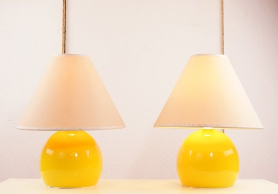 Pair of bright yellow accent lamps, 1960s