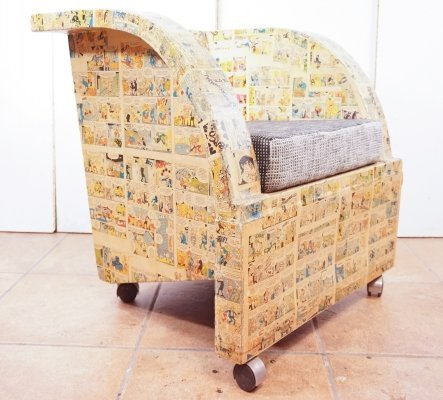 Newspaper Cartoon (Mortadelo Y Filemon) covered chair, 1980s