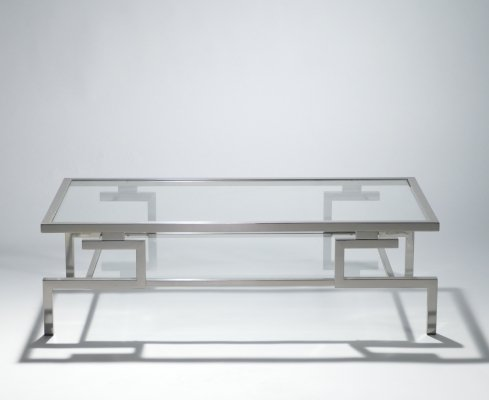 Hollywood Regency Nickel coffee table by Guy Lefevre for Maison Jansen, 1970s