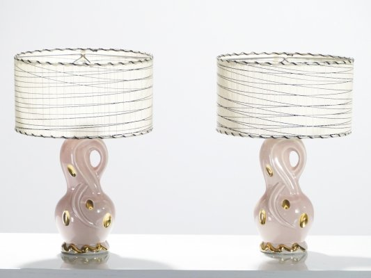 Mid-century Pair of French pink ceramic lamps, 1960s