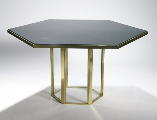 Hollywood Regency Romeo Rega black lacquer, brass & glass dining table, 1970s