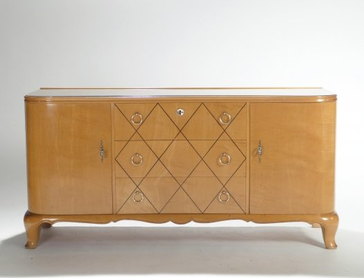 Mid-century René Prou sycamore brass sideboard commode, 1940s