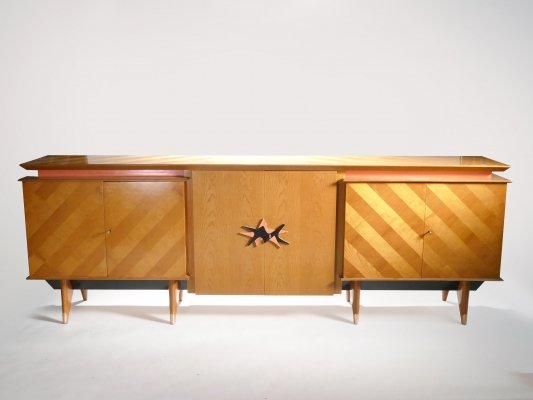 French Mid-century Large modernist oak sideboard, 1950s