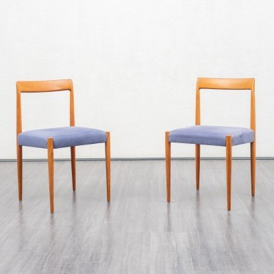 Set of two teak Lübke dining chairs, 1950s