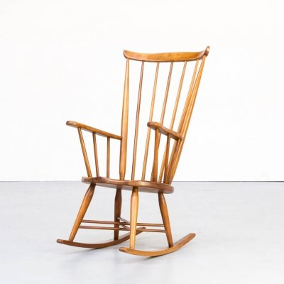 70s Wooden rocking chair with x frame