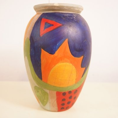 Colorful Hand-Painted Clay Vase, 1980s