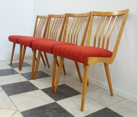Set of 4 Czech dining chairs, 1960s