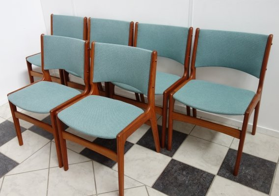 Set of 6 Teak Henning Kjaernulf dining chairs, 1960s
