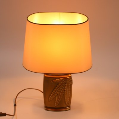 Bronze table lamp with fern on the foot, 1980s