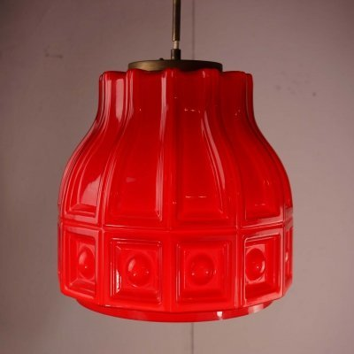 1960's Cased Glass Pendant Light in Red & White
