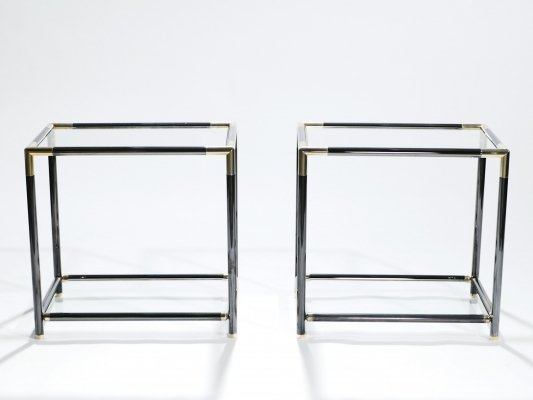 Pair of French gunmetal & brass end tables, 1970s