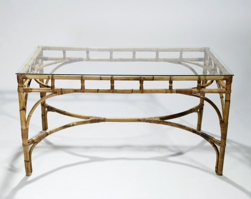 Hollywood regency rattan & bamboo table or desk, 1970s