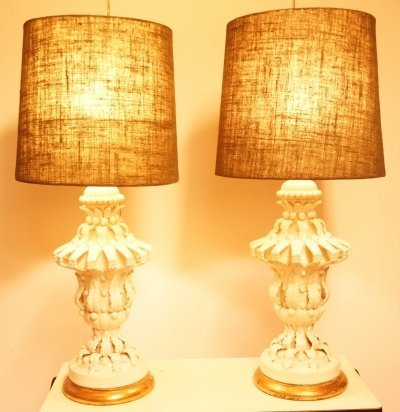Pair of large Porcelain Lamps by Ceramica De Manises, 1950s