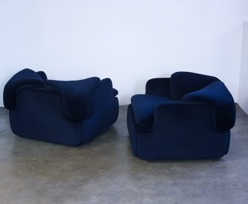 Pair of Confidential lounge chairs by Alberto Rosselli for Saporiti, 1972