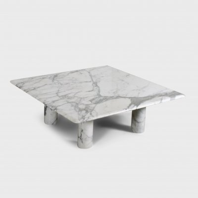 Large Angelo Mangiarotti Carrara Marble Coffee Table for Up&Up, Italy 1970s