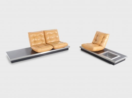 Ultra Rare Michel Ducaroy Platform Sofas in Cognac Leather, 1970s