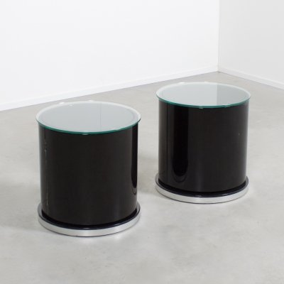 Set of Round Dry Bar / Cabinets by Willy Rizzo, Italy 1970s