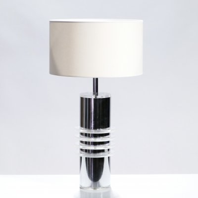 French Chrome & plexiglass table lamp, 1970s
