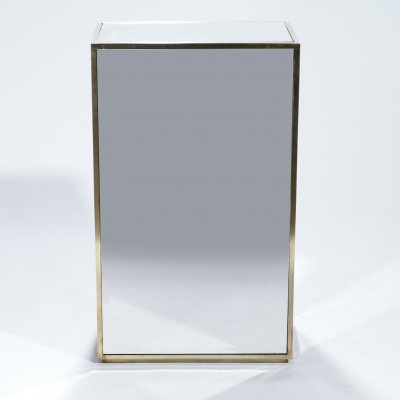 Large French mirrored & brass pedestal, 1970s