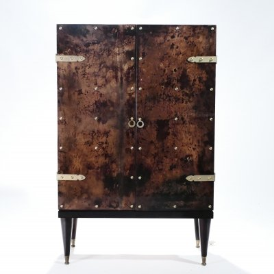 Bar cabinet in goatskin parchment by Aldo Tura, 1960's
