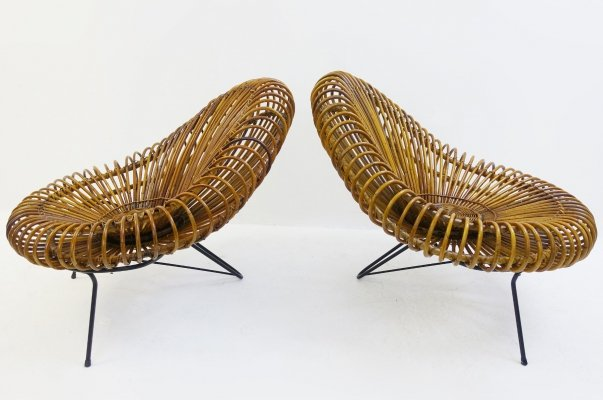 Pair of Cane Chairs by Janine Abraham & Dirk Jan Rol, 1950s