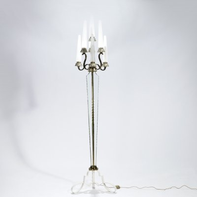 French Bronze & crystal floor lamp by Sabino, 1930s