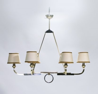 Jacques Adnet brass & gunmetal chandelier, 1950's