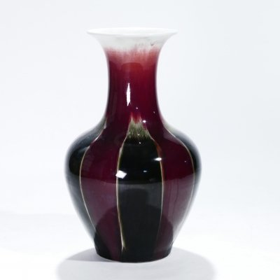 Large French ceramic vase sang de boeuf, 1960s