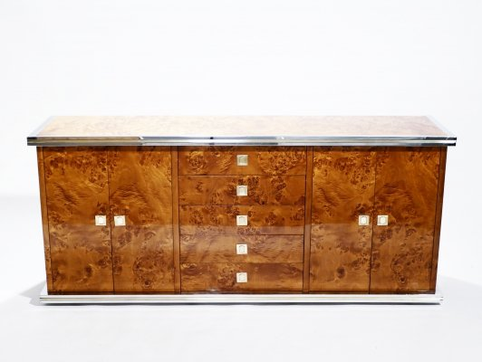 Willy Rizzo burl chrome & brass credenza, 1970s