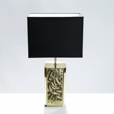 Large signed Lova Creation bronze table lamp, 1970s