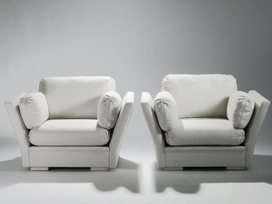 Pair of large Hollywood Regency Maison Jansen armchairs, 1960s