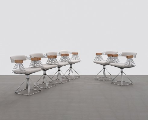 Rudi Verelst set of six chromed 'Delta' Chairs