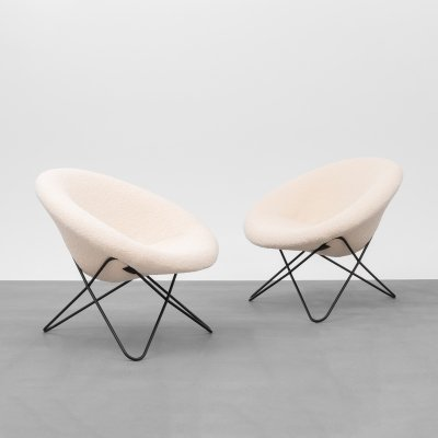 Pair of hairpin chairs, France 1950's